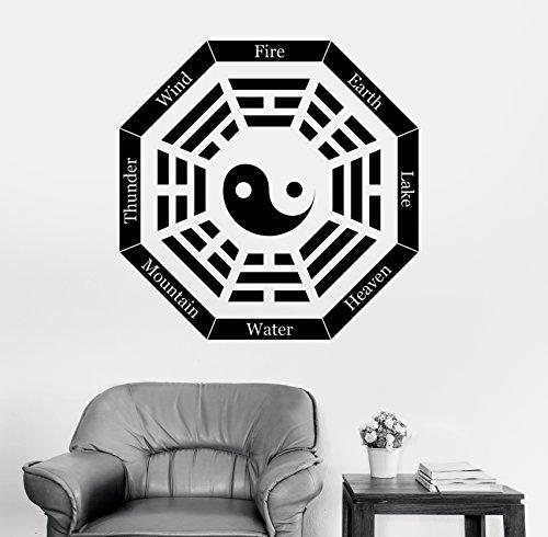 Wallstickers4you Wandtattoo I Ching Acht Trigramme Yin Yang Symbol Vinyl Aufkleber (Z2900)