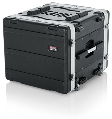Gator - Caja para rack (8U, 49 cm, polietileno, con rieles, asa, ruedas, cierre), 8 U