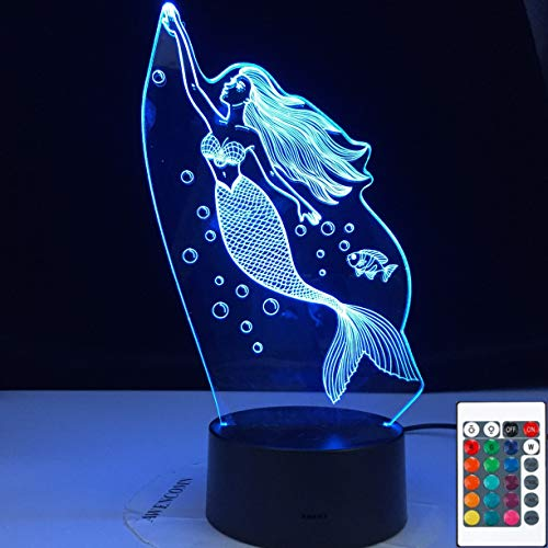 Party Lovely Mermaid Girl Daughter Indoor 3D LED Night Light Table Lamp Bedside Decoration Kids Gift
