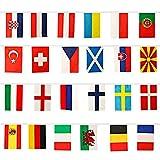 Floepx Euro 2021 Bunting 24 European Football Championship Teilnehmende Teams Bunte Flaggendekoration für Gartenrestaurantbar Nationalflagge, Deckendekoration
