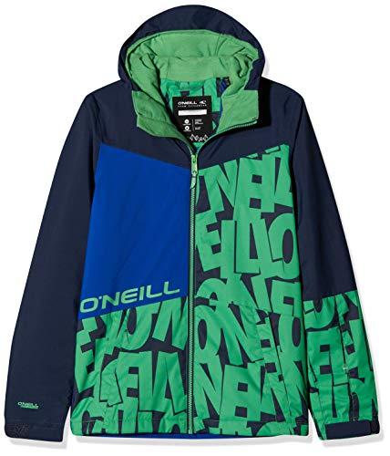 O'Neill Jungen Hubble Jacket Snow, Blue AOP w/Green, 140