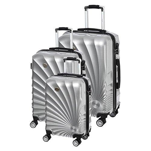 MANOUKIAN Set de 3 Valises Chariot Rigide ABS et PC 4 Roues 48-60-78cm MANOUKIAN 32 Silver