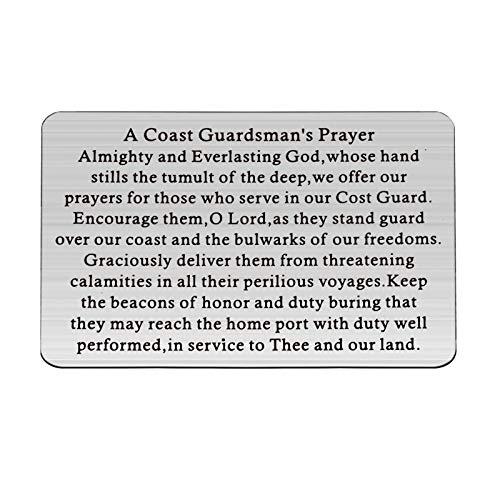 BAUNA CoastGuardsman'sPrayer Metal Wallet Card for Him Coast Guard Gift Military Jewelry USCG Graduation Card Insert GiftDeployment Gift
