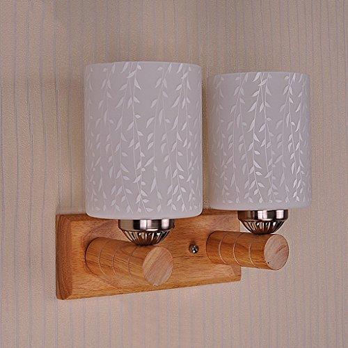 GKJ Conduit lampe de mur simple salon chambre couloir en bois chaud lampe de mur (style : B)