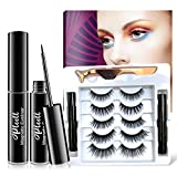 Magnetic Eyelashes and Eyeliner Kit,5 Styles Natural & Dramatic Makeup Waterproof Magnetic Lashes with 2 Magnetic Eyeliner