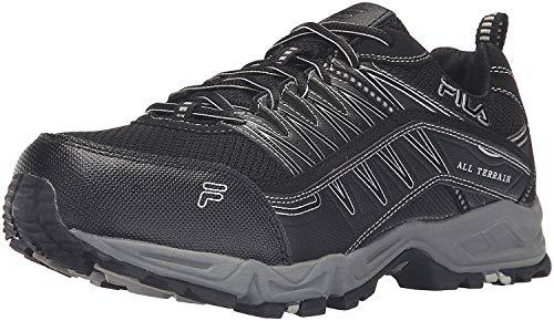 Fila Men's Memory at Peak Steel Toe Trail Runner, Black/Black/Metallic Silver, 13 M US