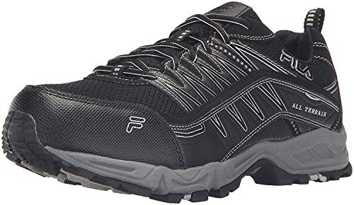 Fila Men's Memory at Peak Steel Toe Trail Runner, Black/Black/Metallic Silver, 13 M US