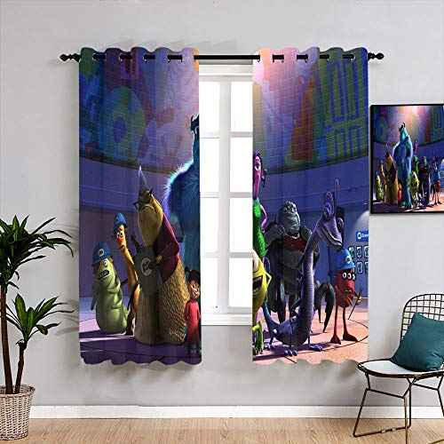 Monsters Inc Michael Wazowski Sully Cartoon Kids Decor Patterned Curtains Decorative Curtains Waterproof Window Curtain for Kids Room,Baby Room W55 x L45