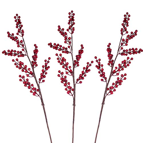 Greentime 3 Pcs Artificial Berry Stems Fake 34.6 Inches Christmas Red Berries Faux Holly Berries Branches for Christmas Wreath Holiday Home Decor