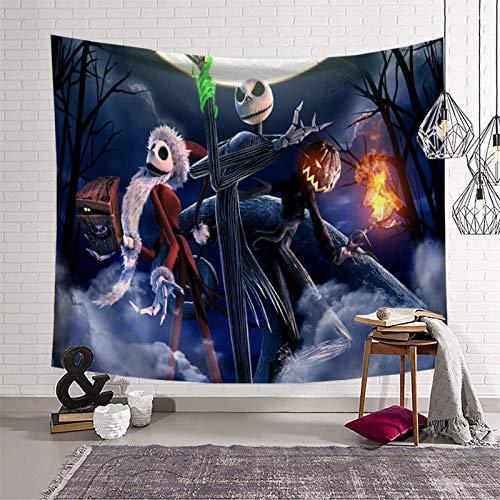 Tapiz negro calabaza King Jack Skellington accesorios para habitación dormitorio de 150 x 210 cm