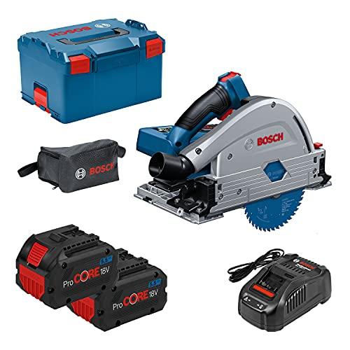 Bosch Biturbo GKT 18V-52 GC - Sierra Circular de Inmersión a Batería, 18V, Disco Diámetro 140 mm, Conectable, 2 Baterías Procore x 5.5 Ah, cargador, en L-BOXX - Amazon Edition