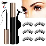 Magnetic Eyelashes Magnetic Eyeliner and Lashes 3D Reusable Mink False Eyelashes Fake Lashes No Glue Set with Tweezers for Beauty Women, 3 pair