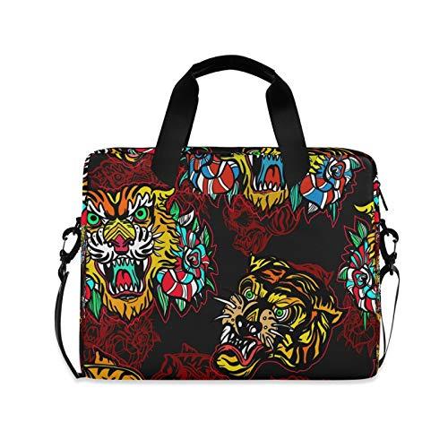 OOWOW - Bolsa para ordenador portátil para mujeres y hombres, colorida, pintura de animales, león, ligero, maletín para ordenador portátil de 14 a 15,6 a 16 pulgadas