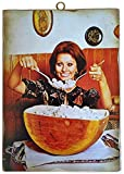 KUSTOM ART Cuadro de estilo vintage de los famosos «Sofia Loren» en la cocina con diseño de mosaico de madera para decoración de restaurante pizzería bar hotel
