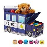 Relaxdays Baúl para Juguetes, Taburete Infantil Plegable, Caja con Compartimento, Unisex, Policía, Azul Oscuro