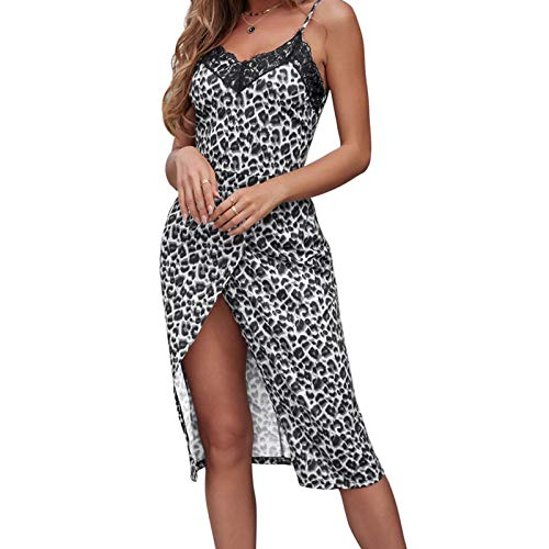 zebroau Vestido sexy con estampado de leopardo con extremos divididos para el ocio diario, interior, oficina, trabajo, compras, vacaciones y bodas