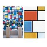 Bunte Fensterfolie Mondriaan Adhesive - Klebefilm Bleiglas Look 0,45 m x 2 m Karo bunt