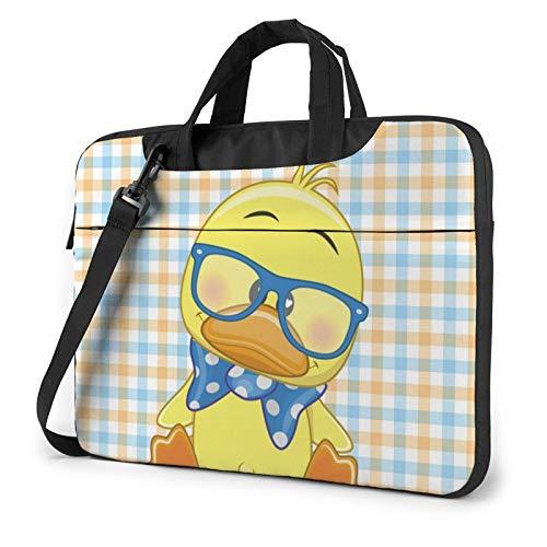 Laptop Shoulder Bag - Boho Baby Duck Printed Shockproof Waterproof Laptop Shoulder Backpack Bag Briefcase 14 Inch