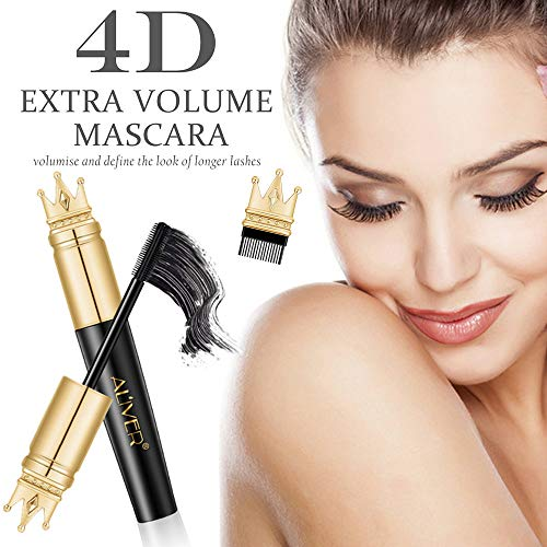 Mascara 4D effetto ciglia finte volumizzante, per ciglia più lunghe, spesse, impermeabili, di lunga durata, senza sbavature. Viene fornito con pennello per definire le ciglia con zero grumi
