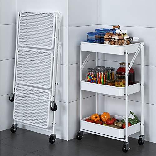 ZYFang 3 Niveles Mueble Auxiliar de Cocina, Plegable Cocina Verdulero Metal Mesa Carro de Almacenamiento con 360°Ruedas para Cocina Restaurante (Color : White, Size : 17.7 * 11.6 * 30.3in)