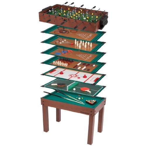 Ultrasport Table de jeux multifonction, 12 petits jeux pour enfants : babyfoot, mini-billard, lancer d'anneaux, etc., accessoires inclus, jeux amusants pour anniversaire d'enfants, 107 x 61 x 80 cm