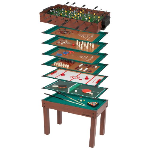 Ultrasport Multifunktionsspieltisch, 12 kleine Spiele für Kinder: Tischkicker, kleines Billard, Ringwerfen uvm., inkl. Zubehör für jedes Spiel, tolles Spielzeug für Kindergeburtstag, 107 x 61 x 80 cm