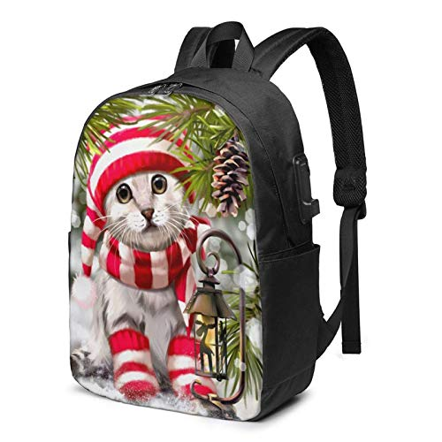 Kitten Backpack Laptop College School Bag Casual Daypa-ck with USB Charging Port