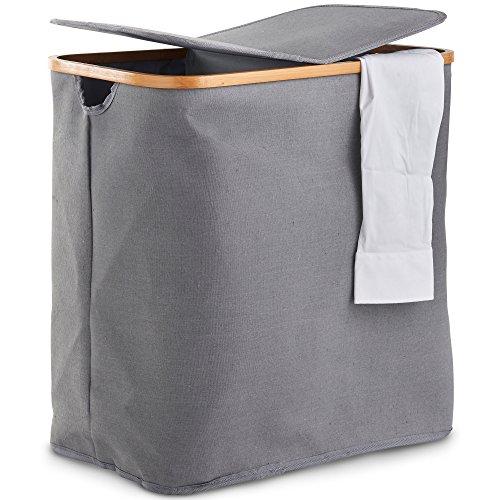 VonHaus Wäschekorb mit 2 Fächern – Wäschesammler – Mit separaten Deckeln – Oxford-Stoff in trendigem Grau