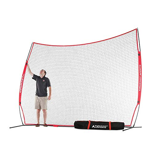 Rukket 12x9ft Barricade Backstop Net, Indoor and Outdoor Lacrosse, Basketball, Soccer, Field Hockey, Baseball, Softball Barrier Netting for Backyard, Park, and Residential Use (12x9ft (Red))