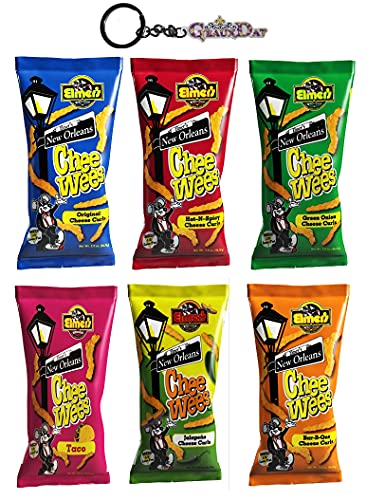 Chee Wees New Orleans Chips Variety 6 Pack (2 oz) each with GeauxDat Logo Keychain