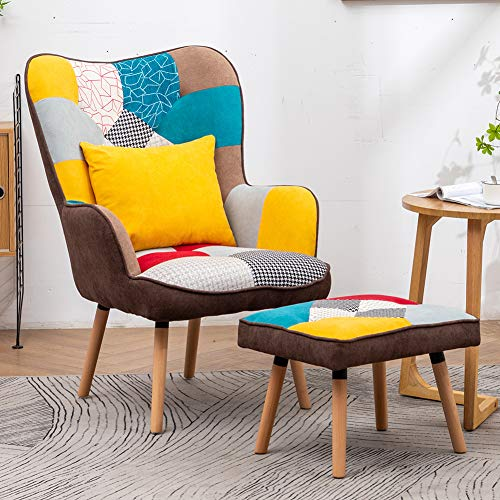 Warmiehomy Patchwork Occasional Chair Wing Back Fabric Accent Armchair with Footstool for Living Room Bedroom Lounge Office Reception (Patchwork)