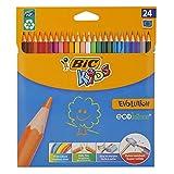 BIC Kids Evolution, 24 Kinder-Buntstifte, Malstifte ab 5 Jahre, Buntstifteset mit bruchsicherer Mine & ohne Holz -