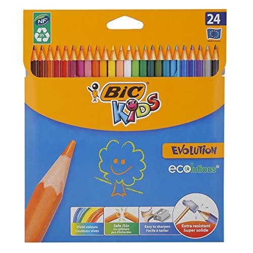 BIC Kids Buntstifte ECOlutions Evolution, zum Malen in 24 Farben, im Karton Etui, ab 5 Jahre, Bruchsichere Mine und ohne Holz