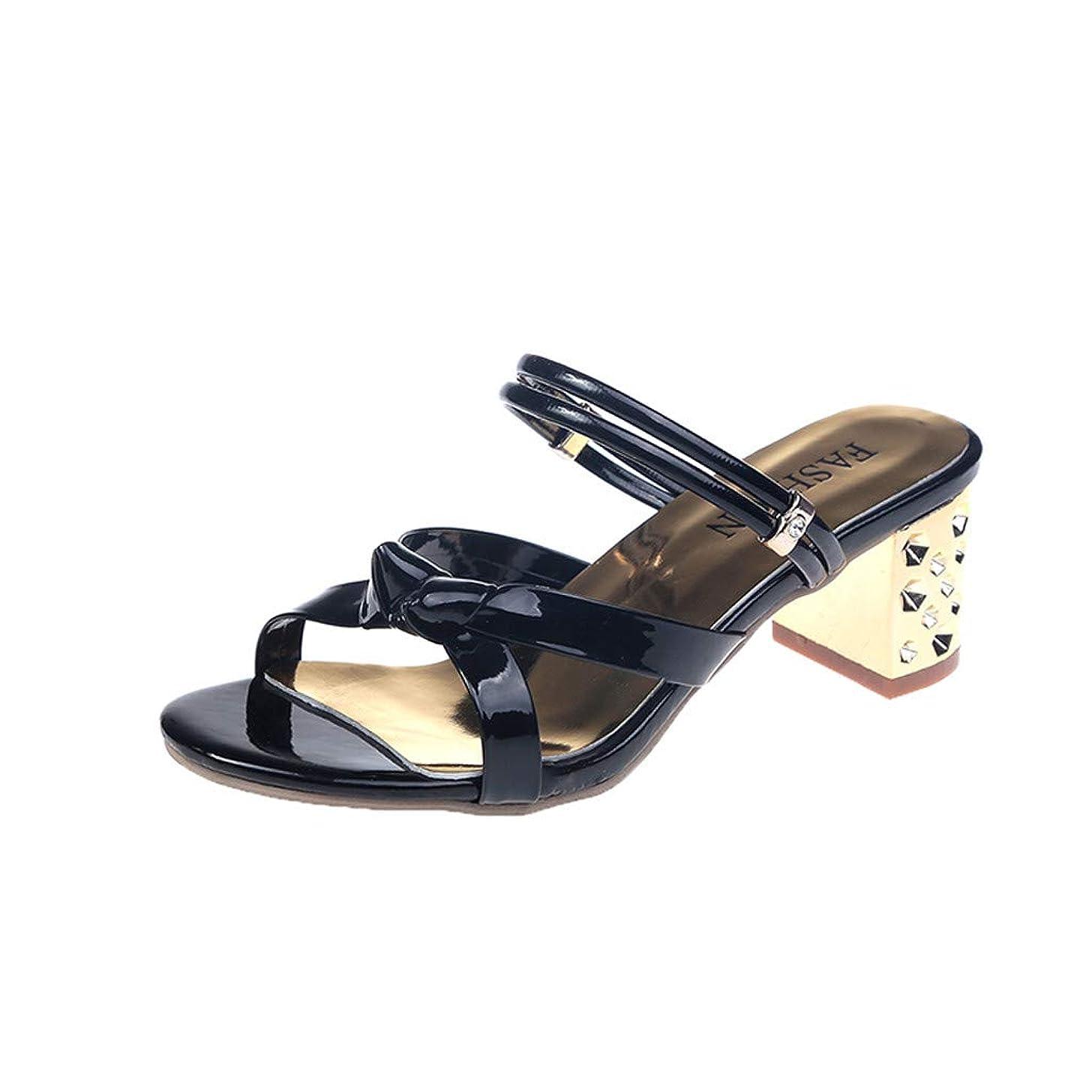 Women's Fashion Knot Square Heel Peep Toe Sandals Casual Beach Rhinestone Chunky Pumps Slip On Slippers JHKUNO