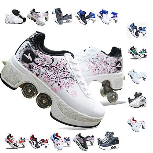 PLMOKN Rollschuhe Mädchen Quad Roller Skates Damen Skate Roller ,2-in-1- Skate Schuhe Sportschuhe Multifunktionale Deformation Schuhe Für Mädchen Unsichtbare Schuhe Fersenroller Kinder,K-38