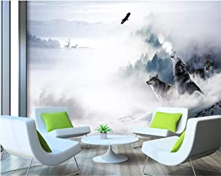 Papel De Pared Papel tapiz personalizado Mural 3D Wolf Totem Snow Mountain Elk Tv Fondo Pared Sala de estar Dormitorio Papel tapiz,5D,400x280cm