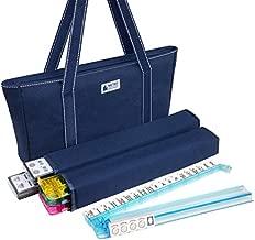 American Mah Jongg Set - 166 Premium White Tiles, 4 All-in-One Rack/Pushers, Blue Canvas Bag