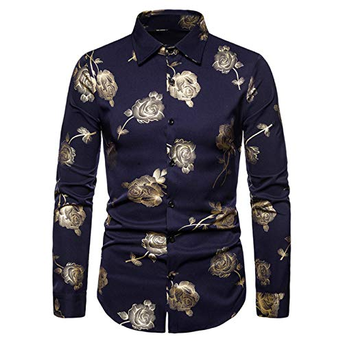 Zestion Men's Button Down Shirt Slim Floral Printing European and American Personality Trend Casual Long-Sleeved Shirt Medium Navy Blue