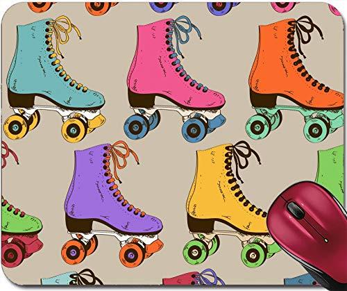 Nahtloses Muster Mit Bunten Retro-Rollschuhen Rutschfestes Mousemat-Gummi-Mauspad,Gaming-Mousepad 30X25CM,Rutschfeste Unterseite,Maus Mausunterlage