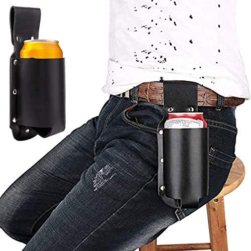 Funda de piel para botellas de cerveza, Accesorio Soporte Cerveza piel Sintética con Trabilla Cinturón, para Varias latas y la Mayoría de Botellas Pequeñas, Accesorio para Cerveza