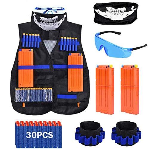 QiyuanLS Chaleco táctico para niños, Kit de Chaqueta Blasters Vest para la Serie Gun N-Strike