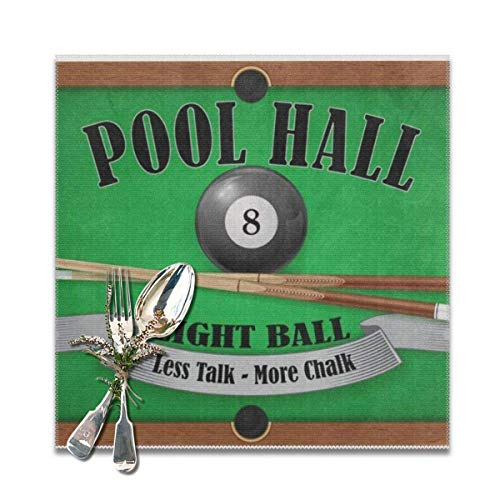 Hipiyoled Billiard Poster Pool Hall Eight Ball Placemats for Dining Table,Washable Placemat Set of 6 12x12 inches