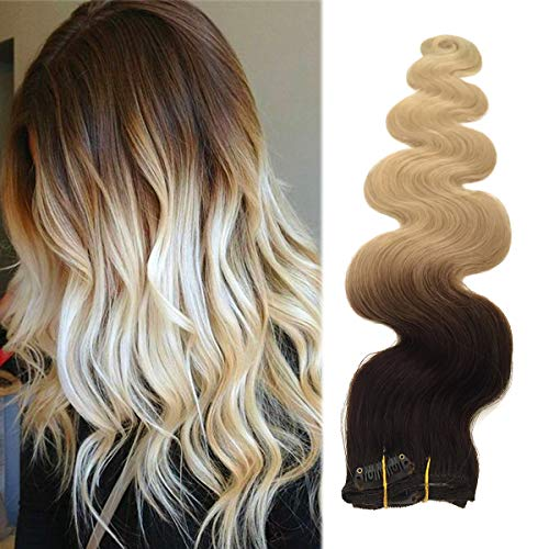 Curly Blonde Human Hair Ombre Clip in Hair Extensions 70grams 7pcs Soft Heat Resistant Wavy Clip in Extensions Dark Brown to Bleach Blonde Lowlights(H#2/613, 18inches)