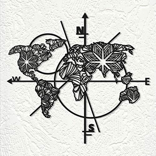 LIVIAN Metallwandkunst, Weltkarte, Metal Wall Art, World Map of Land, Metall Wand Deko, Metallwandplakat, 3D, M-L, Schwarz, Für alle Wohnräume (99 x 91 cm)