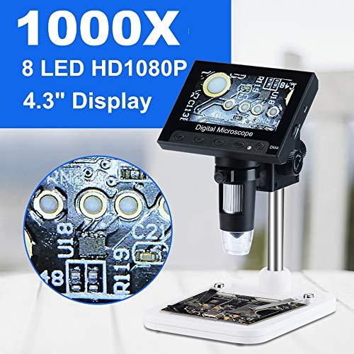 1000x2.0 mp USB Microscope Électronique Numérique DM4 4.3'LCD Affichage VGA Microscope avec 8 LED Stand Pour PCB Carte Mère Réparation