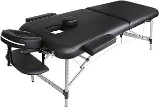 Massageliege Klappbar Massagetisch Massagebett Massagestuhl mit 2 Zonen höhenverstellbaren Aluminium-Füßen und Premium-PU-...