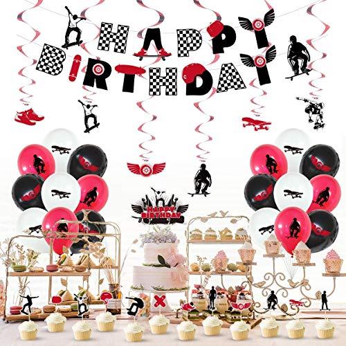 Daohexi Skateboard-Geburtstagsparty-Zubehör, Skateboard-Silhouette, Luftballons, Kuchen-Topper und Cupcake-Topper für Sport-Motto, Skater, Jungen und Mädchen, atmosphärische Dekoration