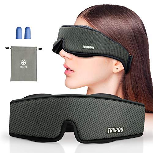 Antifaz para Dormir, Tropro Antifaces Máscara de ojos Ajustable 3D, 100% Anti-Luz Opaco, Espuma Viscoelástica de Rebote Transpirable, Velcro Suave