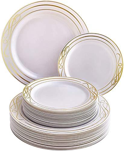 Pratos de salada/sobremesa descartáveis de festa Silver Spoons, Dourado, 20 Servings, 1