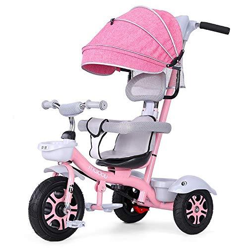 Tisi Baby Trike 3 en 1, Baby Trike con pedales plegables, triciclo para niños, toldo desmontable con asa de empuje con soporte para taza (rosa)